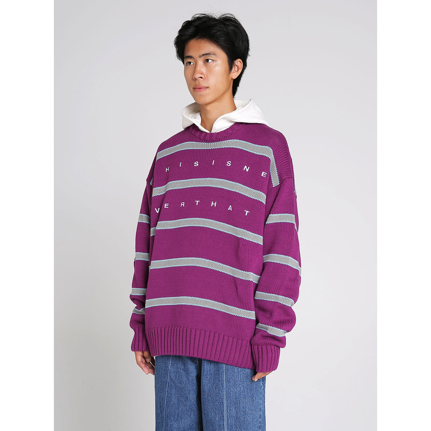 eedef4f0846c Striped Oversized Knit Sweater